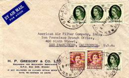 2d (2) And 5d (4) QEII 1964 G.P.O. Sydney Air, N.S.W Aust 8 Airmail To San Francisco, Calif.  Light Crease. - 1952-65 Elizabeth II : Ed. Pré-décimales