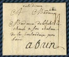 """Lettre De NANTES Pour BAIN (Bretagne) Avec Mention """"route De Rennes"""" -1786 - Poststempel (Briefe)"""