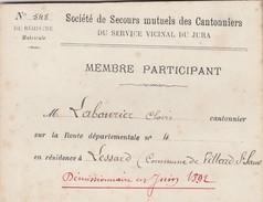CARTE DE MEMBRE PARTICIPANT CANTONNIERS DU SERVICE VICINAL DU JURA.. AU VERSO DESCRIPTION BIEN INQUIETANTE - Vieux Papiers