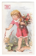 Victorian Trade Card James Pyles Pearline Washing Compaound Soap Girl Picking Flowers - Trade Cards