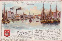 Antwerpen Zuiderdokken Bassin Flamand Zeer Oude 19de Eeuwse Postkaart Maison Tietz 1899 Lithografie Lithographie - Antwerpen