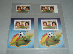 Lot 2 Timbres NEUFS + 2 Vignettes, République Du Tchad 80 F, World Cup 82 Espagne Espana 1982 Coupe Monde Giresse - Africa (Other)