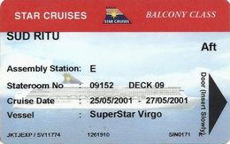 Star Cruises - Super Star Virgo 2001 - Balcony Class - Hotel Keycards