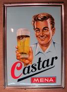 GLACOIDE BIERE CASTAR MENA /  TIMBRE AU DOS 1966 ? - Advertising (Porcelain) Signs