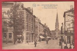 Etterbeek - Rue Général-Leman Et Eglise Sainte-Gertrude... Gendarme Au Carrefour - 1923 ( Voir Verso ) - Etterbeek