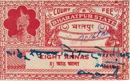 INDIA BHARATPUR PRINCELY STATE 8-ANNAS COURT FEE STAMP 1932-42 GOOD/USED - Otros