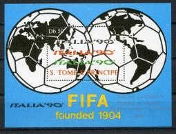Sao Tome E Principe, 1988, Soccer World Cup Italia, Football, Silver Overprint, MNH, Michel Block 186s - Sao Tome Et Principe
