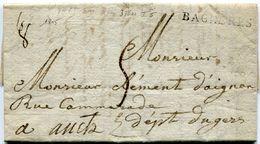HAUTES PYRENEES De BAGNERES DE BIGORRE LAC Du 03/07/1815 Avec Linéaire 37x11 Poids 8 Gr Taxée 5 Pour AUCH - Storia Postale