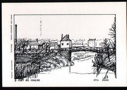 45, Briare, Carte Format 10 X 15, Atelier D'art Graphique Trianien (Trainou), N°9, Pont Des Moulins - Briare