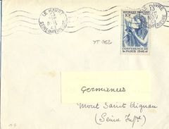 CONFERENCE DE PARIS 1946 10 F. Bleu YT 762 TIMBRE SEUL Sur LETTRE OMec RBV 5.L.O. LE HAVRE 13 NOV 48 - Poststempel (Briefe)
