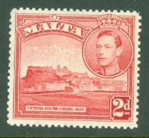 Malta: 1938/43   KGVI     SG221b    2d   Scarlet  MH - Malta (...-1964)