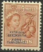 Cyprus - 1960 Republic Overprint 5m MLH *     Sc 185 - Cyprus (Republic)