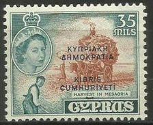 Cyprus - 1960 Republic Overprint 35m MLH *     Sc 191 - Cyprus (Republic)