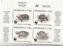 1992 Venezuela  WWF Turtles Block Of 4 MNH - W.W.F.