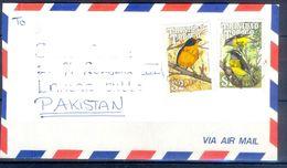 D787-  Postal Used Cover. Posted From Trinidad & Tobago To Pakistan. Plants. Trees. Birds. - Trinidad & Tobago (1962-...)