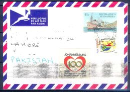 D788-  Postal Used Cover. Posted From South Africa To Pakistan. Ship. Flag. - South Africa (1961-...)
