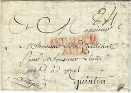 """1776- Lettre De CADIX  Pour Quintin ( France, Bretagne )    """" ANDALUCIA / ALTA  """" Rouge - ...-1850 Prefilatelia"""