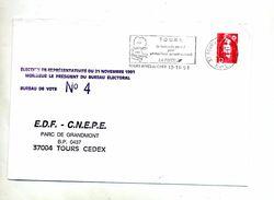 Lettre Flamme Tours Code Postal Election  Edf - Marcophilie (Lettres)