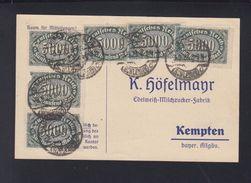 Dt. Reich Bestellkarte Edelweiss-Milchzucker 1923 Hirschberg Schlesien Nach Kempten - Germany