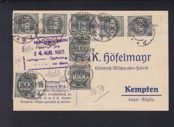 Dt. Reich Bestellkarte Edelweiss-Milchzucker 1923 Suhl Nach Kempten - Briefe U. Dokumente