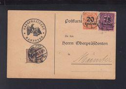 Dt. Reich PK 1923 Oberpräsident Hannover - Dienstpost