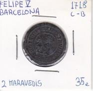 MONEDA DE ESPAÑA DE FELIPE V DEL AÑO 1718 DE 2 MARAVEDIS (COIN) BARCELONA - [ 1] …-1931 : Reino