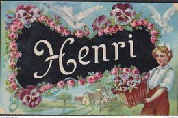 CPA - Carte Fantaisie - Prénom - HENRI - Fête - Voeux Fleurs Bloemen (Kreuk / Fold) - Prénoms