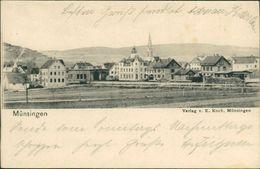AK Münsingen, Teilansicht Mit Bahnhof, O 1905 (19175) - Muensingen
