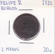 MONEDA DE ESPAÑA DE FELIPE V DEL AÑO 1720 DE 2 MARAVEDIS (COIN) BURGOS - [ 1] …-1931 : Reino