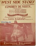 40 60 PARTITION PIANO WEST SIDE STORY BERNSTEIN ROBBINS TONIGHT COMBIEN DE NUITS LUIS MARIANO 1957 ROUZAUD COMÉDIE MUSIC - Music & Instruments