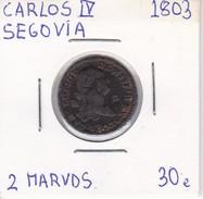 MONEDA DE ESPAÑA DE CARLOS IV DEL AÑO 1803 DE 2 MARAVEDIS (COIN) SEGOVIA - [ 1] …-1931 : Reino