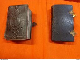 Lot De 2 Missel-la Journee Du Chretien -1817-nouveau Paroissien (abimee)-tranche Dorée-a Fermoir- - Religion & Esotericism