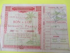 Bon à Lot / 60 Francs Au Porteur/ Exposition Coloniale  Internationale /PARIS/Transports/ 1931   ACT119 - Transports