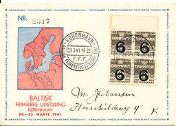 Denmark BALTIC Stampexhibition Copenhagen 20-23/3-1941 Good Franked With Cachet - Expositions Philatéliques