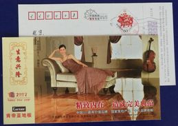 Musical Instrument Cello,China 2007 State Inspection Exemption Product Cartier Wooden Floor Advert Pre-stamped Card - Music