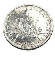 1 Franc  - Semeuse  - France - 1912 - Argent  - TB+ - - H. 1 Franc