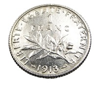 1 Franc  - Semeuse  - France - 1913 - Argent  - TTB - - H. 1 Franc