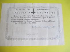 Archive Religieuse/Reçu Avec Extrait De Réglement/Confrérie Des Chaines De St Pierre/Eudoxana Basilica/ROME/1869    AR88 - Religione & Esoterismo