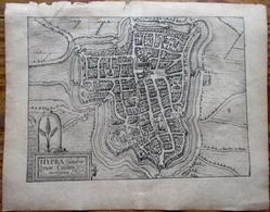 Ieper - Ipres - Hypra - Stadsplan - Carte De Ville -  Antique City Map - Giucciardini 1610 - Cartes