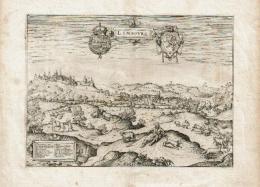 Limburg - Limbourg - Vue Animée Et Légendée Du Limbourg, Ornée De 2 Blasons - Giucciardini 1615 - Cartes
