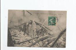 PARIS INCENDIE DE LA HALLE AUX CUIRS (POMPIERS ET LANCE A L'OUVRAGE) 1907 - Sapeurs-Pompiers
