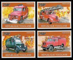 Togo Fire Engine Fire Brigades Trucks 4v Set MNH Michel:3709-3712 - Isole Comore (1975-...)