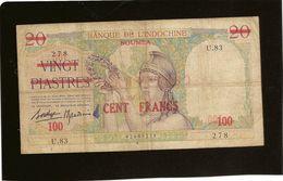 Billet Nouvelle Caledonie Pick 39 , 100 Francs Sur 20 Piatres  RRR - Billets