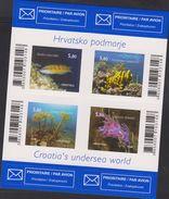 E) 2014 CROATIA, CROATIAN UNDERSEA WORLD, FISH, SPONGE, ORNATE WRASSE, MEDITERRANEAN VIOLET AEOLID, S/S, MNH - Croatia
