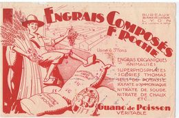 Ancien Buvard Publicité Engrais F. Roche Saint Fons (rhône) Llustration Agriculteur Raisin Blé Pomme - Buvards, Protège-cahiers Illustrés
