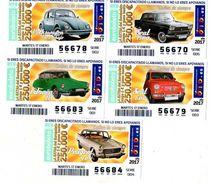 5 BILLETS DE LOTERIE Espagne VOITURES CARS * Seat 1500 * Seat 600 * Peugeot 404 * Citroen DS * Volkswagen Escarabajo - Billetes De Lotería