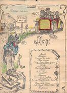 """Brest 1909 Menu Original (dessin) ,Promotion 1908/1909 """" E.S.M """" ( Ecole Spéciale Militaire ? ) Voir état - Menus"""