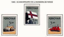 FEROE 1990 - 50 ANIVERSARIO DE LA BANDERA (FLAG) DE FEROE - YVERT Nº 194-195** - Sellos
