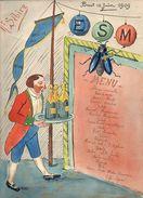 """Brest 1909 Menu Original (dessin) Honneur Aux Anciens """" E.S.M """" ( Ecole Spéciale Militaire ? ) - Menus"""