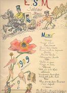 """Brest 1909 Menu Original (dessin) Salut Aux Bleus """" E.S.M """" ( Ecole Spéciale Militaire ? ) - Menus"""